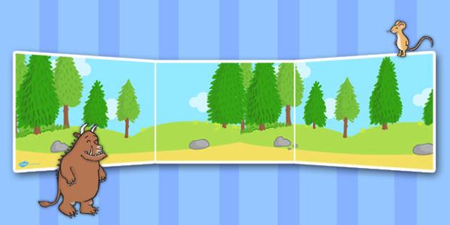The Gruffalo Small World Background - The Gruffalo, resources, mouse, fox, owl, snake, Gruffalo, fantasy, rhyme, story, story book, story book resources, story sequencing, story resources, Small World, backdrop, background, scenery, small world area,