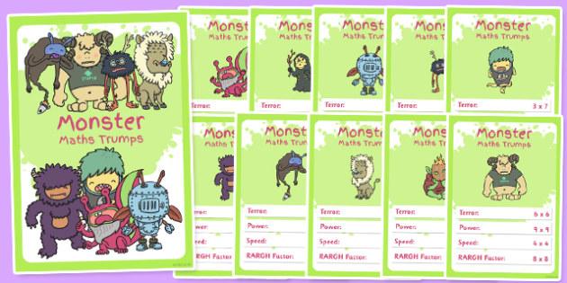 Monster Multiplication Card Game - monster, top trumps, multiply