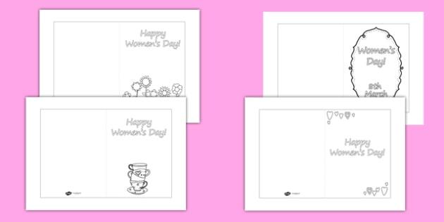 Women's Day Card Templates Colouring - womens day, card templates, colouring, colour, womens history month, women