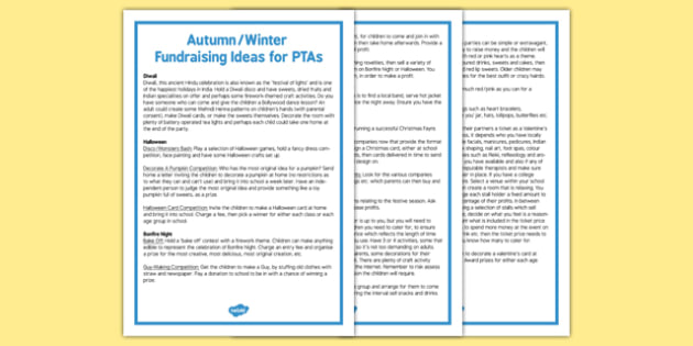 Autumn and Winter Fundraising Ideas for PTAs - autumn, winter, fundraising, ideas, ptas