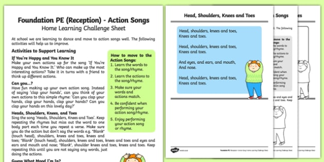 Action Songs Home Learning Challenge Sheet - EYFS, PE, Physical Development, Planning