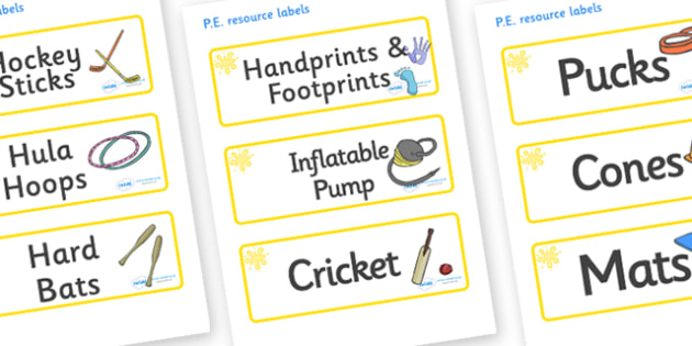 Yellow Themed Editable PE Resource Labels - Themed PE label, PE equipment, PE, physical education, PE cupboard, PE, physical development, quoits, cones, bats, balls, Resource Label, Editable Labels, KS1 Labels, Foundation Labels, Foundation Stage Lab