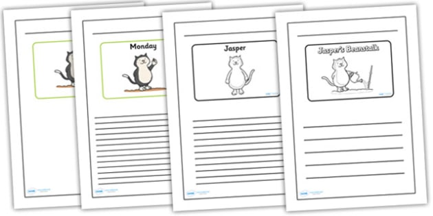 Black and White Lined Writing Frames to Support Teaching on Jasper's Beanstalk - jaspers beanstalk, jaspers beanstalk colour and write, jaspers beanstalk writing frames, jasper