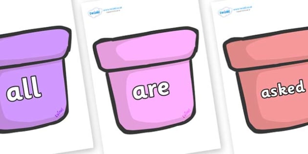 Tricky Words on Plant Pots - Tricky words, DfES Letters and Sounds, Letters and sounds, display, words