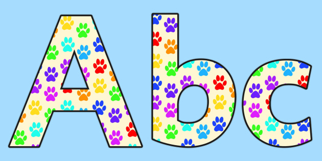 Paw Print Lowercase Display Lettering-paw print, lowercase, display lettering, themed display lettering, lettering for display, display letters
