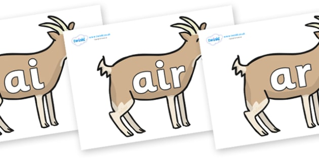 Phase 3 Phonemes on Goats - Phonemes, phoneme, Phase 3, Phase three, Foundation, Literacy, Letters and Sounds, DfES, display