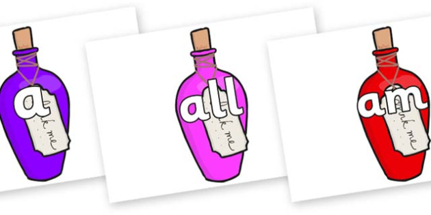 Foundation Stage 2 Keywords on Drink Me Bottles - FS2, CLL, keywords, Communication language and literacy,  Display, Key words, high frequency words, foundation stage literacy, DfES Letters and Sounds, Letters and Sounds, spelling