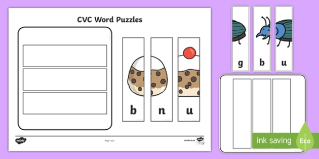 Workstation Pack:  CVC (u) Words Puzzles Activity Pack