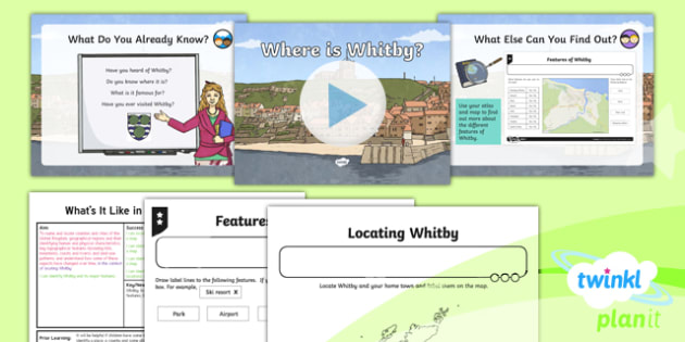 PlanIt Geography Y4 - What's It Like in Whitby - L1 Where Is Whitby? Lesson Pack - geography, UK, compare, Whitby, contrasting, location, physical, human, coast, seaside, Yorkshire, county, map