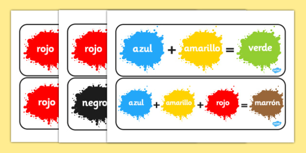Colour Mixing Pack Spanish - spanish, Colour posters, Colouring mixing, mix, colour, display, poster, posters, black, white, red, green, blue, yellow, orange, purple, pink, brown