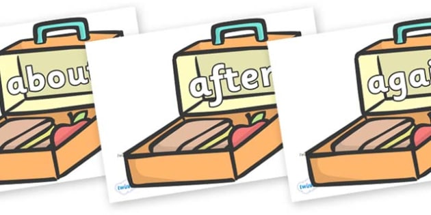 KS1 Keywords on Lunch Boxes - KS1, CLL, Communication language and literacy, Display, Key words, high frequency words, foundation stage literacy, DfES Letters and Sounds, Letters and Sounds, spelling