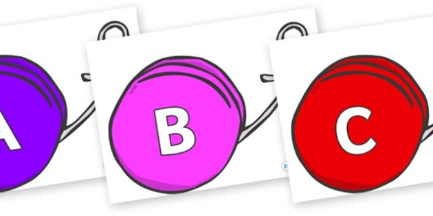 A-Z Alphabet on Yo Yos - A-Z, A4, display, Alphabet frieze, Display letters, Letter posters, A-Z letters, Alphabet flashcards