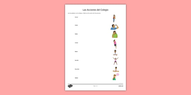 Las Acciones del Colegio Infinitive Verbs Spanish Match Up Worksheet - spanish, Grammar, gramatica, verbs, verbos, infinitives, infinitivos, school actions, acciones colegio, match up, unir, ficha, worksheet