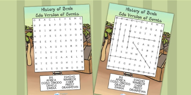 History of Benin Edo Version Event Story Differentiate Wordsearch