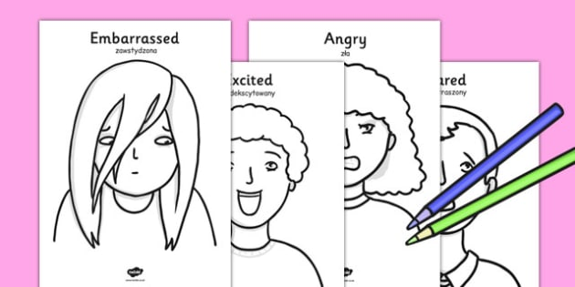 Ourselves Emotions A4 Colouring Posters Polish Translation - polish