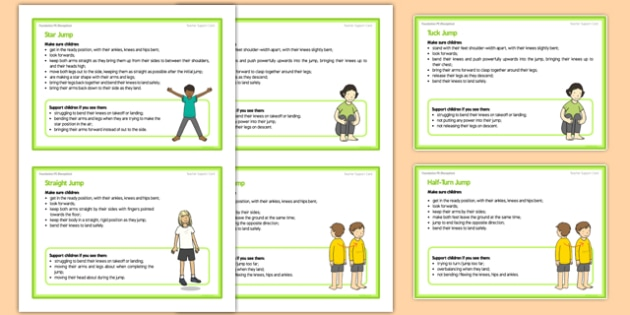 Foundation PE (Reception) - Types of Jumps Teacher Support Cards - EYFS, PE, Physical Development, Planning