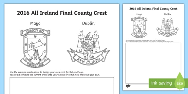 Design your own 2016 All-Ireland Final Crest Activity Sheet-Irish, worksheet