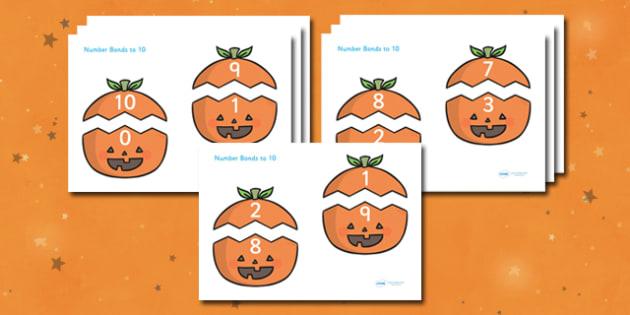 Number Bonds to 10 on Pumpkins - number bonds, number bonds to 10, 0-10, 0-10 number bonds, bonds, numbers, numeracy, maths, adding, plus, addition, add