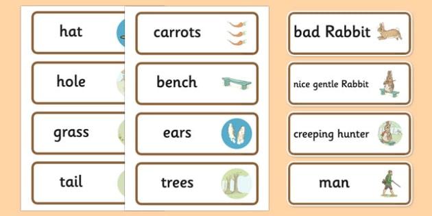The Story of a Fierce Bad Rabbit Word Cards - fierce, bad, rabbit, beatrix potter