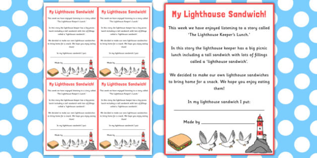 My Lighthouse Sandwich Note Cards to Support Teaching on The Lighthouse Keeper's Lunchbox - lighthouse, sandwich, note