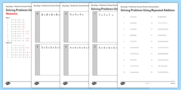 KS1 Arithmetic Content Practice Activity Sheet Solving Problems Using Repeated Addition - Maths, KS1, Key Stage 1, Arithmetic, repeated addition, worksheet