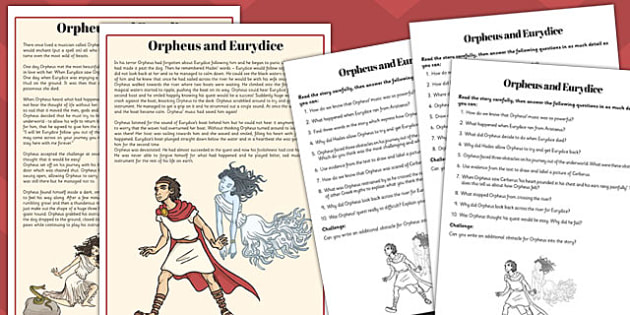 Orpheus and Eurydice Differentiated Reading Comprehension Activity - comprehension
