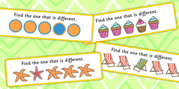 Find The One That Is Different Concept Cards Activity - difference, visual aid