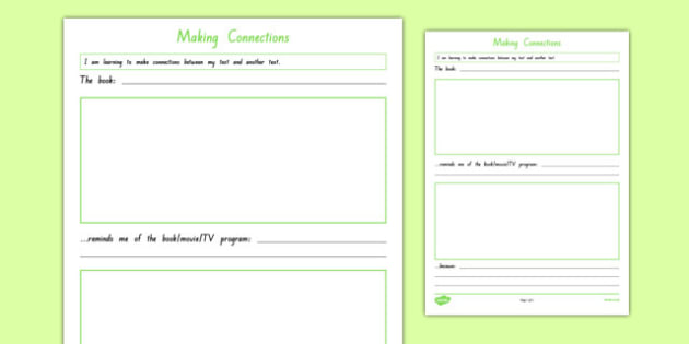 Making Connections Text to Text Activity Sheet, worksheet