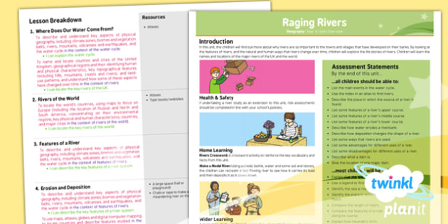 PlanIt - Geography Year 6 - Raging Rivers Planning Overview - planit, planning overview