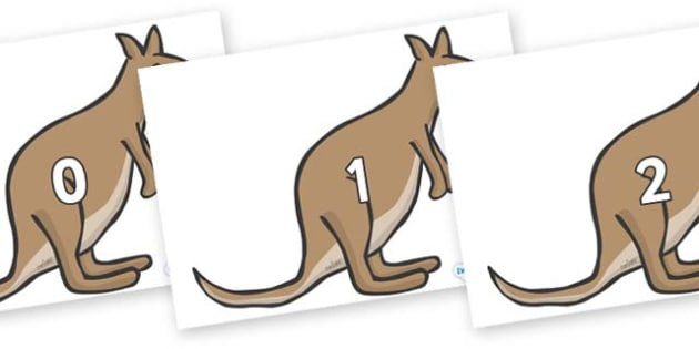 Numbers 0-31 on Kangaroos - 0-31, foundation stage numeracy, Number recognition, Number flashcards, counting, number frieze, Display numbers, number posters