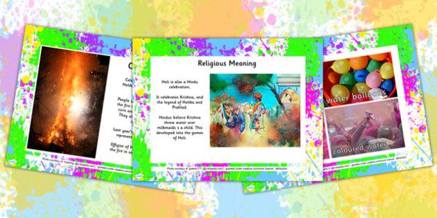 All About Holi Festival PowerPoint - holi, festival, religion