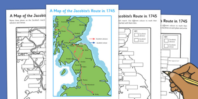A Map of the Jacobite Route in 1745 Activity Sheet - map, jacobites, worksheet