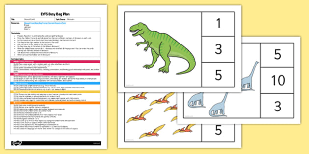 EYFS Dinosaur Count Busy Bag Plan and Resource Pack