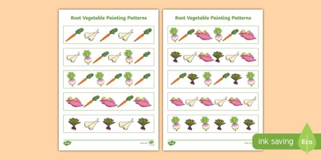 Root Vegetables Painting Pattern Activity Sheet, worksheet