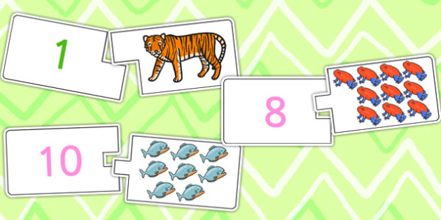 Jungle Themed One To Twelve Counting Matching Puzzle - count