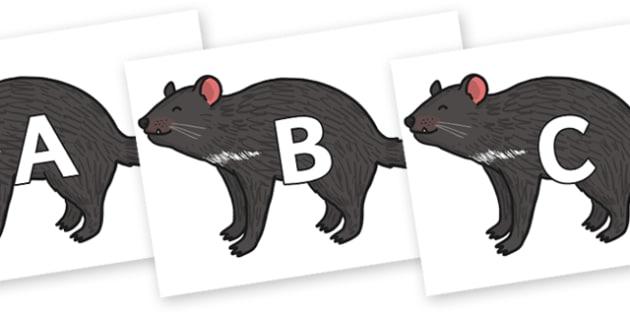 A-Z Alphabet on Tasmanian Devil - A-Z, A4, display, Alphabet frieze, Display letters, Letter posters, A-Z letters, Alphabet flashcards