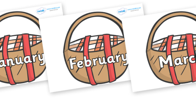 Months of the Year on Picnic Baskets to Support Teaching on The Lighthouse Keeper's Lunch - Months of the Year, Months poster, Months display, display, poster, frieze, Months, month, January, February, March, April, May, June, July, August, September