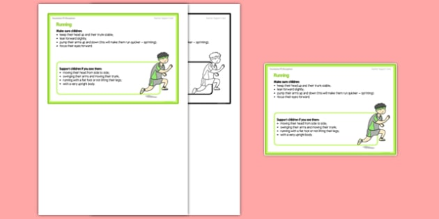 Foundation PE (Reception) - Running Teacher Support Card - EYFS, PE, Physical Development