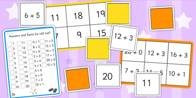 Maths Sums up to 20 Bingo and Lotto Pack - maths, bingo, lotto