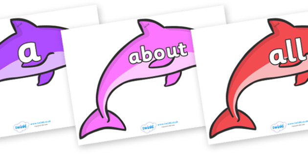 100 High Frequency Words on Dolphins - High frequency words, hfw, DfES Letters and Sounds, Letters and Sounds, display words