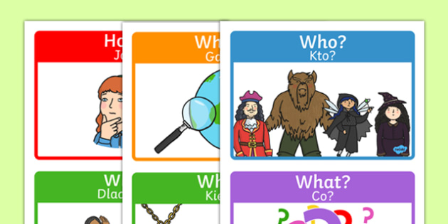 Who What Where When Posters Polish Translation - Reading, reading prompt, who, what ,where, when, guided reading, reading question, reading questions, parent, parents, reading comprehension, guided reading questions, comprehesion, comprehnsion, readi