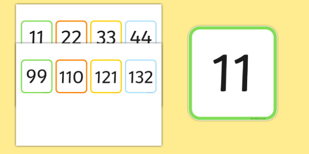 Multiples of 11 Flash Cards - multiples, counting, times table, count, multiplication, division, flash cards, 11