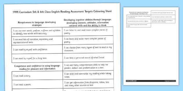 1999 Curriculum 5th and 6th Class English Reading Assessment Targets Colouring Sheet - colouring, targets, assessment, ROI, Irish, Ireland