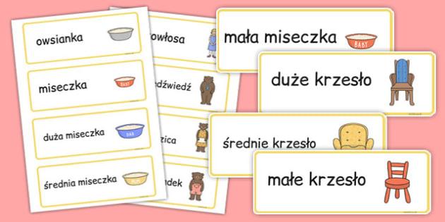 Karty ze słownictwem Złotowłosa i trzy niedźwiadki po polsku