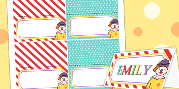 Circus Themed Birthday Party Place Names - parties, role play