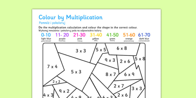 Colour by Multiplication Polish Translation - polish, colour, multiplication, colouring, times tables, activities, games, maths games, numeracy, numeracy puzzles, number games