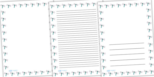 Dragonfly Full Page Borders - page borders, dragonfly page borders, dragonfly borders for page, minibeasts page borders, A4, border for page, lined pages
