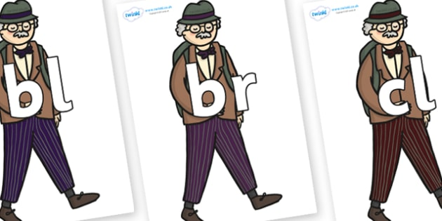 Initial Letter Blends on Beautys Dad Walking - Initial Letters, initial letter, letter blend, letter blends, consonant, consonants, digraph, trigraph, literacy, alphabet, letters, foundation stage literacy