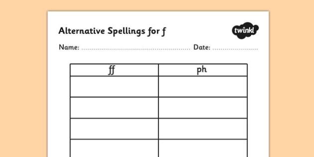 Alternative Spellings for f Table Worksheet-alternative spellings, f, worksheet, f spellings, spellings table, spellings, different spellings, literacy