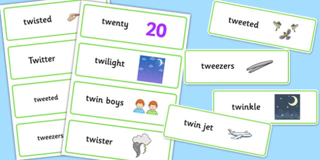 Two Syllable TW Word Cards - sen, sound, special educational needs, tw, word cards